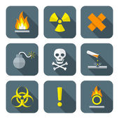 Colorful flat style hazardous waste symbols warning signs icons — Stock Vector