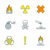 Colored outline hazardous waste symbols warning signs icons — Stock Vector