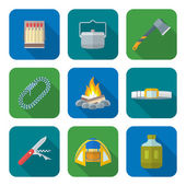 Flat style colored various camping icons collectio — Stock Vector