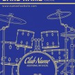 Постер, плакат: Rock music concert drum set vertical music flyer templat