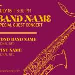 Постер, плакат: Jazz music concert saxophone vertical music flyer template
