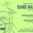 Постер, плакат: Rock music concert drum set horizontal music flyer templat