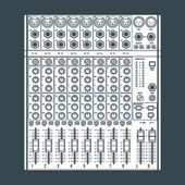 Solid color eight channels professional studio sound mixer illus — Stock Vector