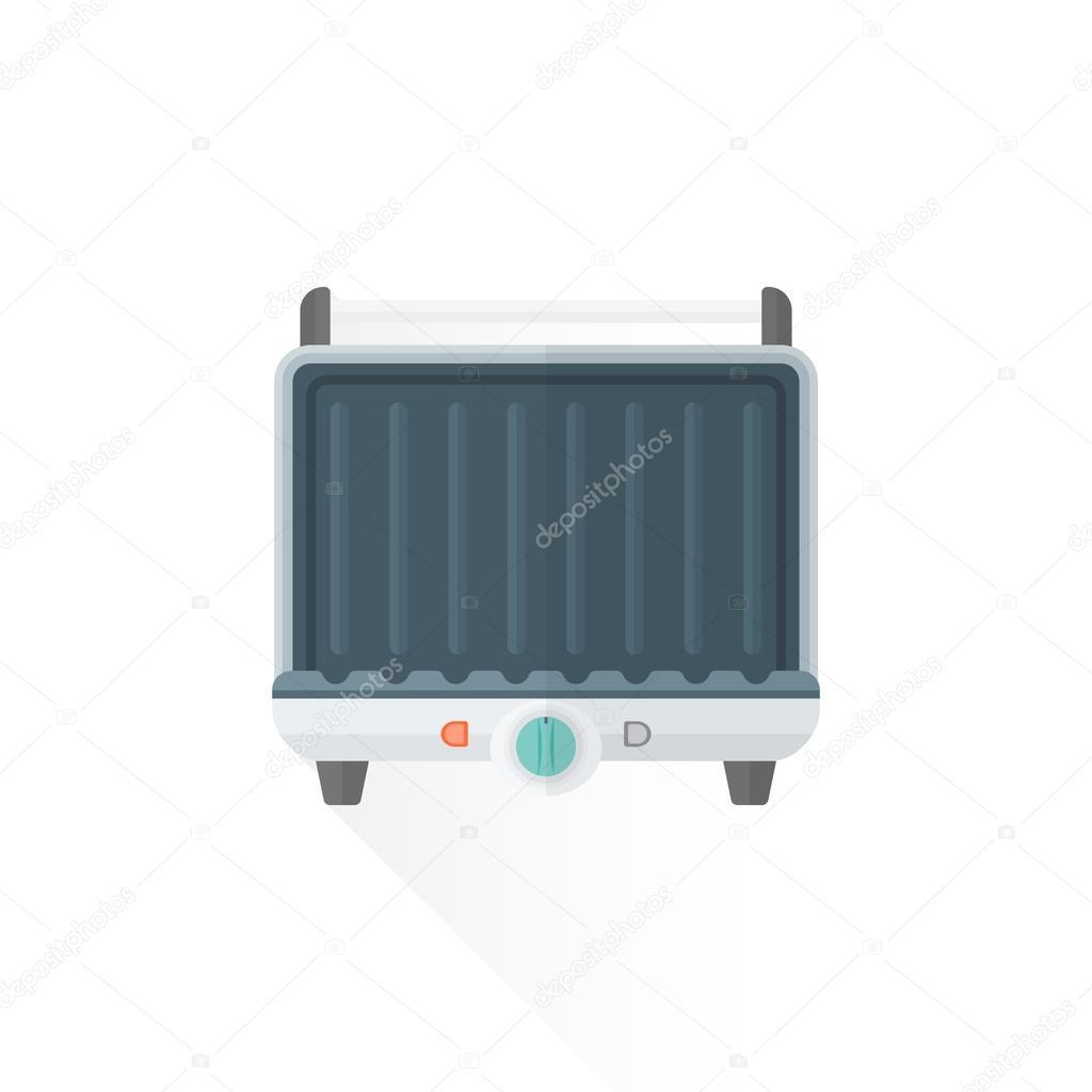 Vector platt stil metall vita kök elektrisk grill illustratio ...