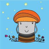 Funny mushroom, illustration. — Stockvektor