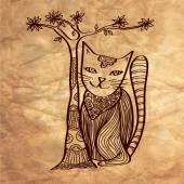 Cartoon artistic cat with tree — Stock Vector
