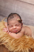 Newborn Baby Girl with Puckered Lips — Stock Photo