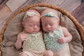 双胞胎女婴睡在一个柳条篮子 — 图库照片