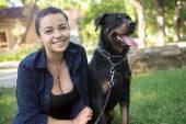 Rottweiler estão andando no parque — Fotografia Stock
