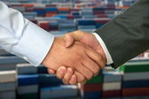 Enthusiastic handshake — Stockfoto
