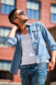 Handsome cool man outdoor — Stock Photo