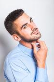 Single elegant man in blue shirt — Stock fotografie