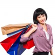 Young brunette woman with shopping bags — Stock Photo #58327595