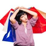 joven morena con bolsas de compras — Foto de Stock   #58327827
