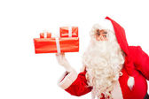 Santa claus with gifts isolated on white, with copy space — ストック写真