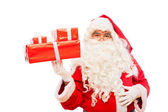 Santa claus with gifts isolated on white, with copy space — Stock Photo