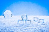 Wet ice cubes and snow — Stock Photo
