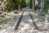Part of railroad track in Hellfire Pass — Stock Photo