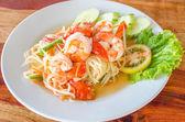 Green papaya salad (Som Tum) with shrimp — Stock Photo