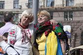 Kijów na Chreszczatyk defilada wojskowa — Zdjęcie stockowe