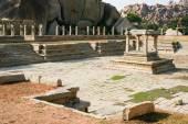 Pillars of ruined temple in hampi — Stock Photo