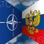 Nato vs russia flags — Stock Vector #52688145