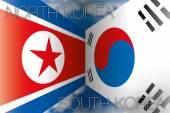 North korea vs south korea flags — Stock Vector