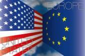 Usa united states vs europe european union flags — Stock Vector