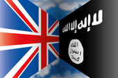 Uk vs isis flags — Stock Vector