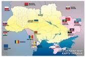 Ukraine map war 2015 with flags — Vector de stock
