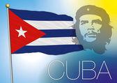 Cuba flag and che guevara portrait — Stock Vector