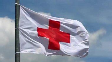 Red cross flag — Stock Video