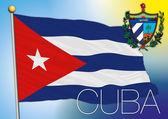 Cuba flag and coat od arm — Stock Vector