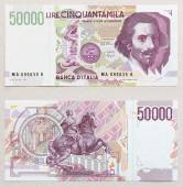 Old italian lire banknote, bernini — Stock Photo