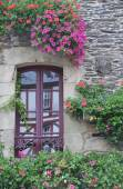 Pretty window Rochefort-en-Terre, France. — Zdjęcie stockowe