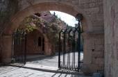 Gated entrance to Courtyard at Ialyssos Monastery Rhodes — Stock Photo