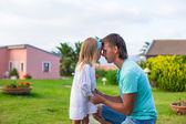 Happy father and his adorable little daughter outdoors — Stock Photo