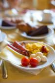 Healthy breakfast on the table close up in restaraunt resort — Stock Photo