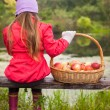 Rear view of young girl sitting on bench and holding large basket with red apples — Stock Photo #53956265