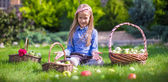 Adorable little girl with autumn harvest of tomato in baskets — Foto Stock