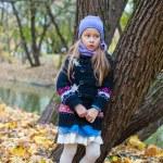 Little girl in autumn park outdoors — Stock Photo #56088325