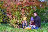 Happy family in autumn park outdoors — Stock Photo