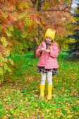 Adorable little girl at beautiful autumn day outdoors — Stock Photo