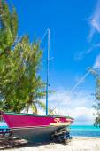 Old fishing boat on a tropical beach at the Caribbean — Stock Photo