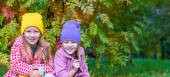 Adorable little girls at beautiful autumn day outdoors — Foto de Stock