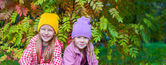 Adorable little girls at beautiful autumn day outdoors — Stock Photo