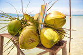Bunch of coconuts on tropical island — Foto Stock