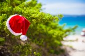 Red christmas hat on on branch background turquoise sea — Foto de Stock