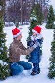 Happy family in Santa hats with christmas tree outdoor — Stock Photo