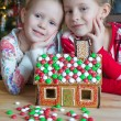 Little adorable girls decorating gingerbread house for Christmas — Stock Photo #63836027